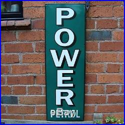POWER PETROL enamel sign large vitreous porcelain vintage race car VAC221