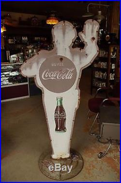 RARE VINTAGE TIN POLICEMAN SCHOOL ZONE COCA COLA SIGN 100% ORIGINAL 50's
