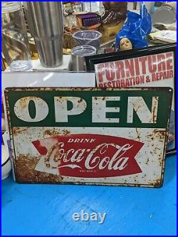 RARE Vintage 1950s Coca Cola Sign 2 Sided Open / Close