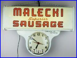 RARE Vintage Art Deco Malecki Sausage Buffalo NY Advertising Lighted Clock Sign