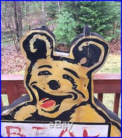 RARE Vintage BEAR Service Wheel Alignment 2 Sided Gas Station Metal Sign 53x36