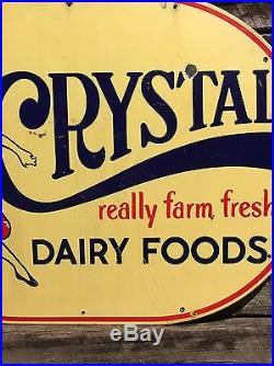 RARE Vintage CRYSTAL Farm Fresh DAIRY Foods Delivery Truck Porcelain Sign 35x25