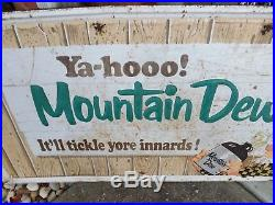 RARE Vintage ORIGINAL Mountain Dew Metal Sign Willy Hillbilly GAS OIL SODA COLA