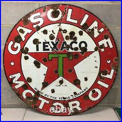 Rare 1932 Vintage TEXACO Porcelain 42 Double sided Sign gas oil advertising