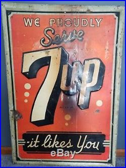 Rare Huge Vintage 7-Up Sign 1942 Metal IT LIKES YOU SIGN