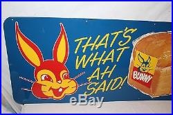 Rare Large Vintage 1950's Bunny Bread Grocery Store Kitchen 54 Metal SignNice