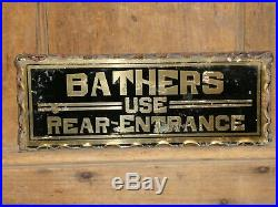 Rare Old Original Bathers Reverse Glass Gold Trade Sign Hotel Vintage Antique