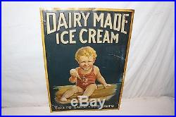 Rare Vintage 1920s Dairy Made Ice Cream Gas Oil Soda Pop 28 Embossed Metal Sign