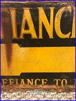 Rare Vintage 1920s Defiance Tires Embossed Tin Tacker Sign Old Original Gas Oil