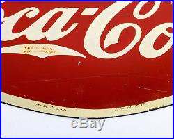 Rare Vintage 1937 DRINK COCA-COLA Double-Sided Metal Flange Sign, A. A. W. 1937