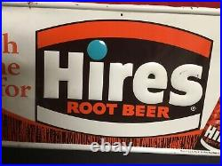 Rare Vintage 1960s Its High Time For Hires Root Beer Embossed Metal Bottle Sign