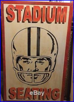 Rare Vintage Heavy Metal Football Stadium Seating Sign (39x24) Inches