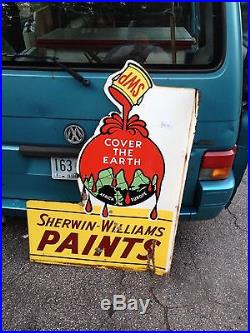 Rare Vintage Sherwin-Williams Paint SWP Porcelain Advertising Flange Sign
