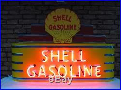 Shell Gasoline Neon Sign! Metal Vintage Marquis Dealership Sign Gas Pump Art
