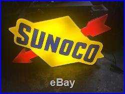 Sunoco Sign Single-Sided Light-Up Vintage Service Station Sign With Arrow Logo