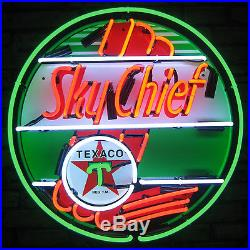 Texaco Sky Chief Neon Sign vintage style Aviation Gasoline sign real neon Globe