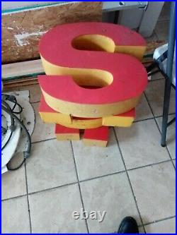 Two Vintage 18in Shell Gas Station Sign