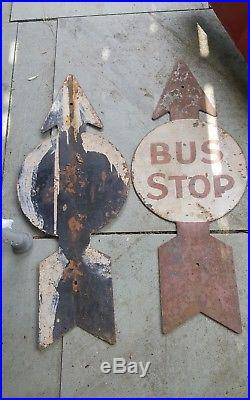 VINTAGE 1900s BUS STOP SIGNS 30 INCHES ARROW POINTING NOT MADE ANYMORE