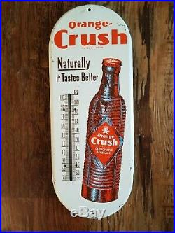 VINTAGE 1950s ORANGE CRUSH SODA ADVERTISING THERMOMETER SIGN NO b925a BROWN