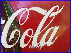 VINTAGE 1955 ADVERTISING METAL COCA COLA BUTTON SIGN 48 w\mount WILL NOW SHIP