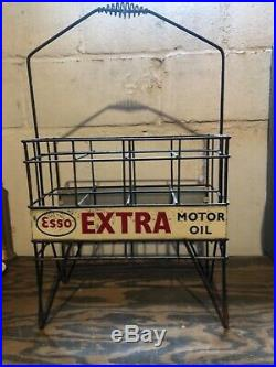 VINTAGE 30s ERA ESSO EXTRA TALL OIL BOTTLE RACK WITH DOUBLED SIDED SIGNS
