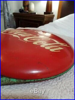 VINTAGE 40s COCA COLA DOUBLE BUTTON FLANGE SIGN HARD TO FIND
