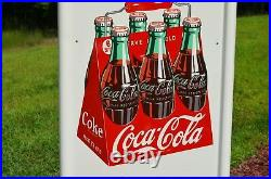 VINTAGE 40s COCA COLA OLD WOODEN 6 PACK DRINK PILASTER with BUTTON SIGN MINTY