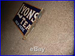 VINTAGE/ANTIQUE LYONS TEA Sold Here. ENAMEL SIGN Double Sided