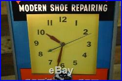VINTAGE CAT'S PAW MODERN SHOE REPAIRING ADVERTISING ELECTRIC WALL CLOCK Sign WOW
