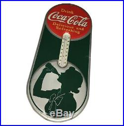 VINTAGE COCA COLA THERMOMETER SIGN Advertising Silhouette Girl 1939 Original VGC