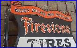 Vintage Firestone Tires Auto Supplies Porcelain Gas & Oil Flange Sign, 2 Sided