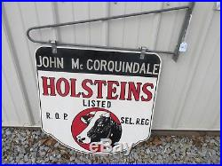 VINTAGE HOLSTEINS SIGN DOUBLE SIDED With HANGER BRACKET EXCELLENT COND M-910