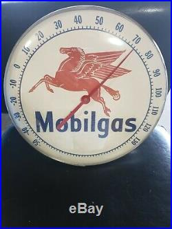 VINTAGE MOBILGAS MOBIL Round Advertising Thermometer Sign Gas Station oil