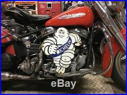 VINTAGE PORCELAIN 54 DIE CUT METAL MICHELIN MAN SIGN Harley Ford Chevy Dodge