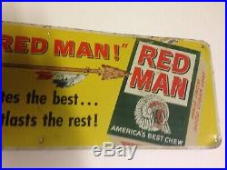 VIntage Red Man Chew Tobacco Gas Station 15 Metal Advertising Sign Oil Soda Pop