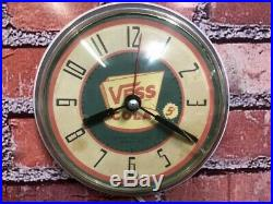 VTG WESTCLOX VESS-WHISTLE COLA OLD 50s SODA-DINER-CHROME KITCHEN WALL CLOCK SIGN