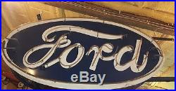 Very large vintage 1950s ford dealership neon double sided sign works good rare