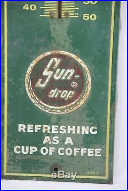 Vintage 1940's Golden Girl Sun Drop Soda Advertising Thermometer Sign Embossed