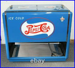 Vintage 1940's Pepsi Cola Ice Cooler Double Dot Hand Painted Restored with Opener