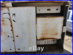 Vintage 1940s John Bean Visualiner Alignment Cabinet Workbench Gas Oil Sign Ford