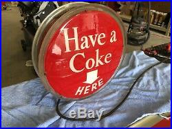 Vintage 1950's Coca Cola Halo SIGN COKE ONE SIDED 16 Metal Lighted Sign Works