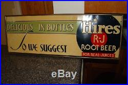 Vintage 1950's Hires Root Beer Metal Sign Framed Original Colors Excellent
