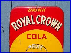 Vintage 1950's ROYAL CROWN COLA (Nehi Corp) Thermometer / Sign- Yellow Version