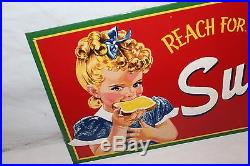 Vintage 1950's Sunbeam Bread Grocery Store Kitchen 26 Embossed Metal SignNice