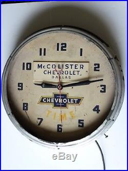 Vintage 1950s McColister Chevrolet Dallas Dealer Advertising Neon Clock Sign