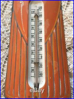 Vintage 1950s Orange Crush Soda Pop 29 Embossed Metal Thermometer Sign