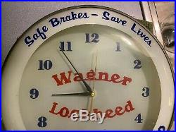 Vintage 1950s Wagner Lockheed Bubble Glass Face Advertising Light Up Clock Sign