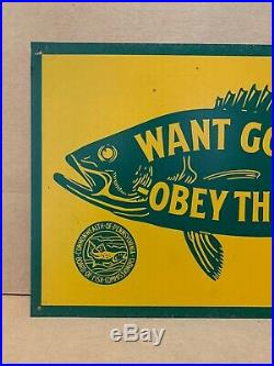 Vintage 1950s Want Good Fishing Obey The Law Metal Sign Pennsylvania Bait Rod