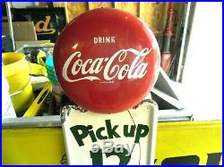 Vintage 1954 Coke Pilaster Button Sign Pick Up 12 Ready To Hang New Old Stock
