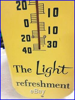 Vintage 1954 Pepsi Cola The Light Refreshment Thermometer Sign 27 Tall